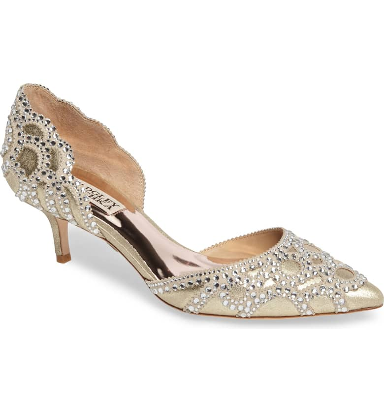 Badgley Mischka d'Orsay Kitten Heel Shoes