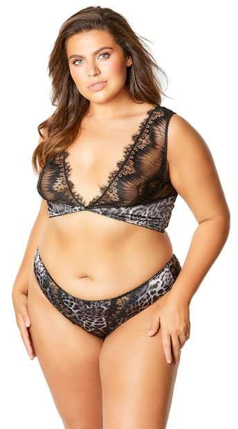 RIVA EYELASH PLUS SIZE LEOPARD PANTY AND BRALETTE