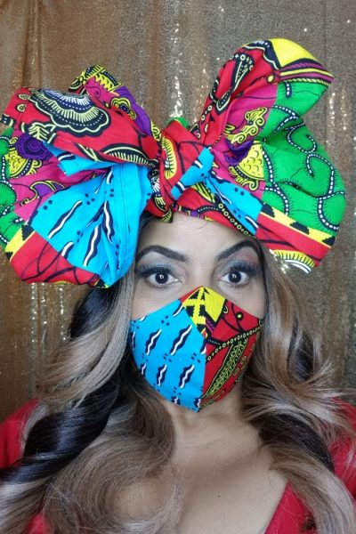 Linda Peavy with Ankara head wrap and face mask set.