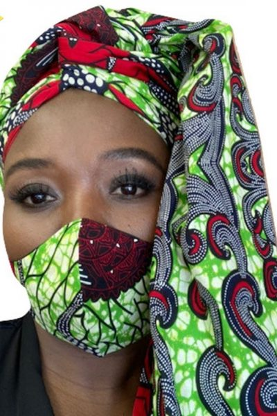 African Ankara Cotton Headwrap and Face Mask Set