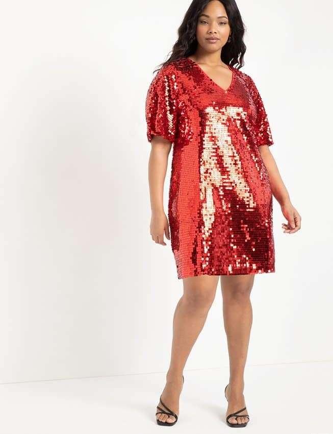 Eloquii Red Sequin Plus Size Dress