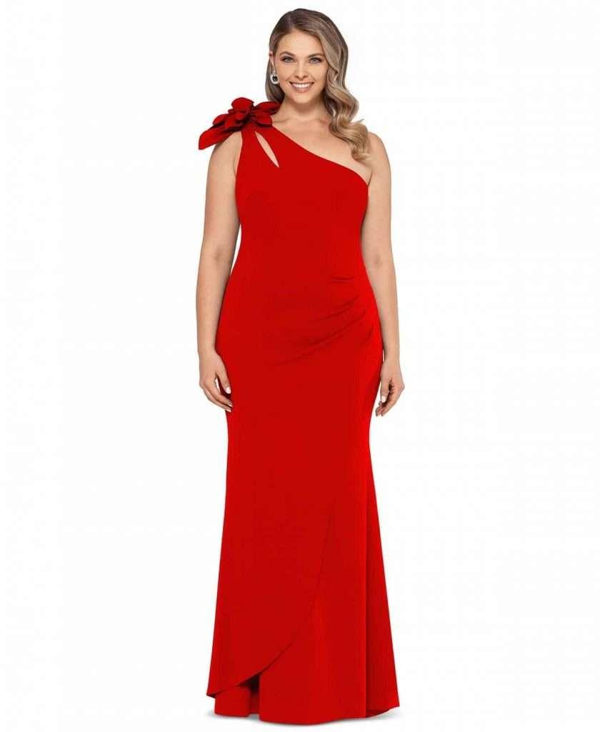 Xscape Plus Size One Shoulder Floral Gown Plus Size Red Dress