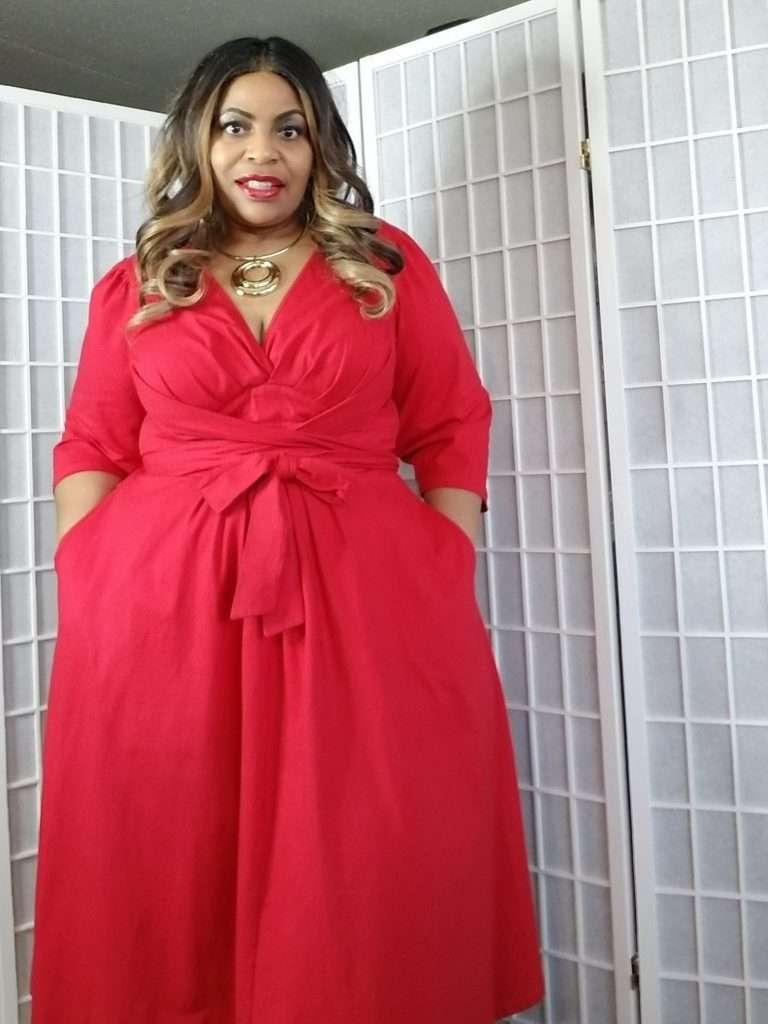 eShakti Plus size red dress