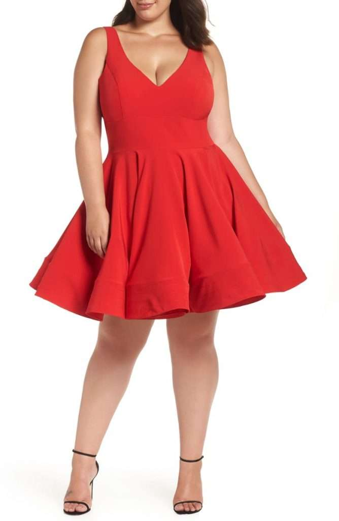 Fit & Flare Party Dress - Mac Duggal Plus Size Red Dress