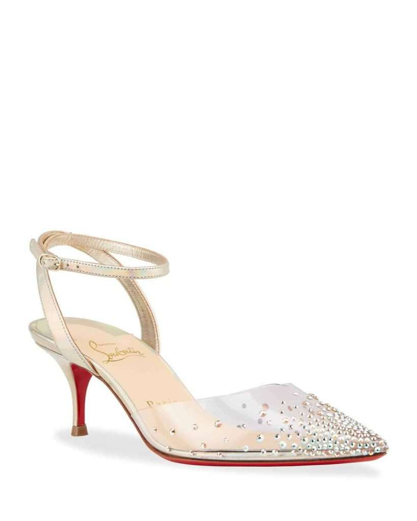 Christian Louboutin Spikaqueen Kitten Heel Red Sole Pumps