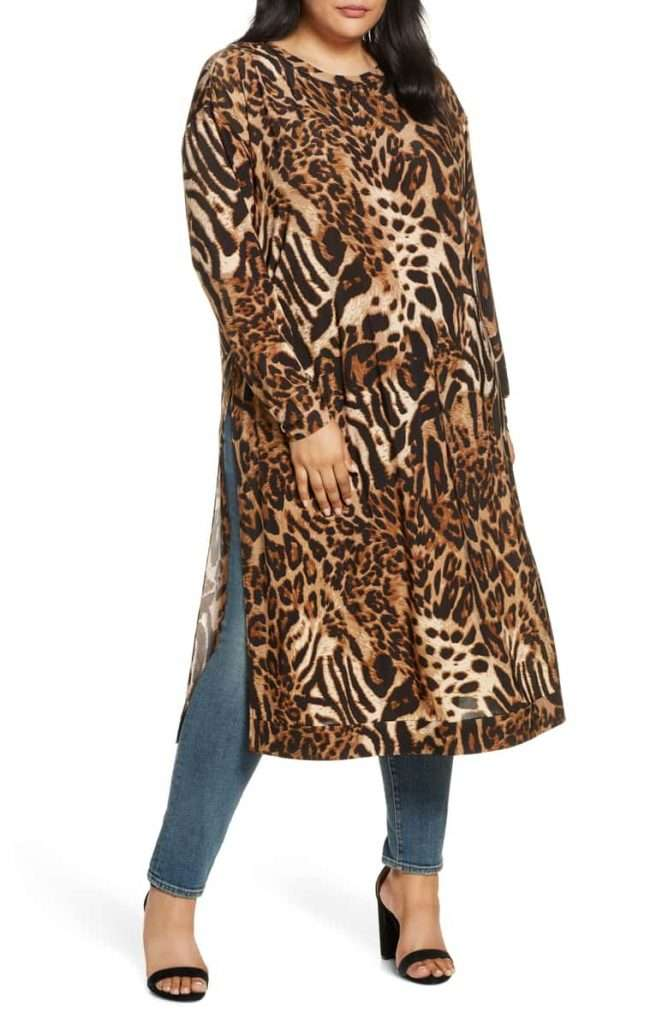 Plus Size Leopard Codesina Jetset Long Sleeve Tunic