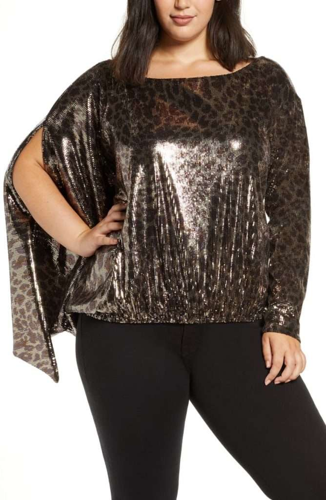 Plus Size Coldesina Sequin Leopard Top