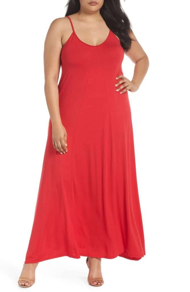 LOVEAPPELLA A-Line Red Plus Size Maxi Dress