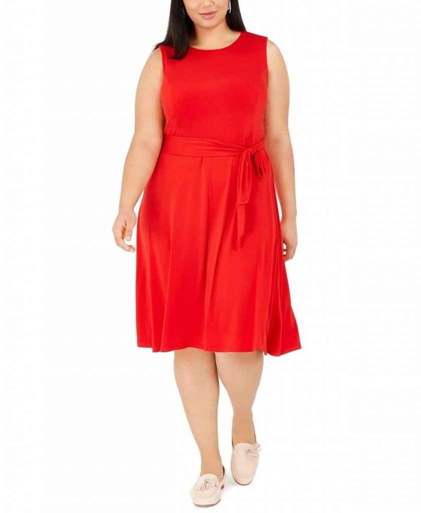 Macys Charter Club Plus Size Sleeveless Tie Side Midi Dress