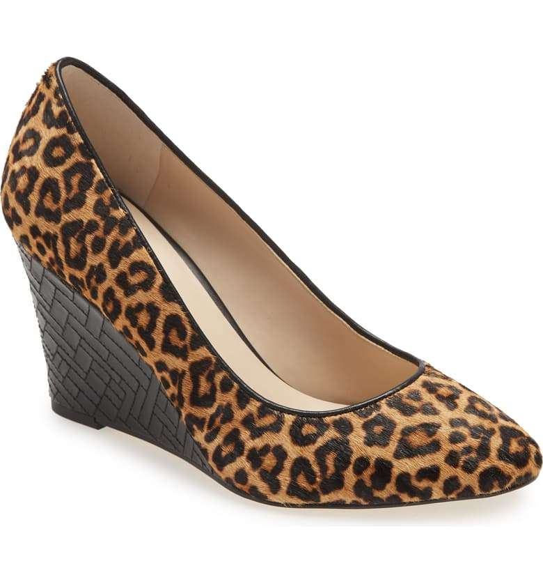 Leopard Merit Genuine Calf Wedge Pump