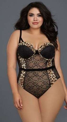 Yandy Plus Size Leopard Chase Me Teddy
