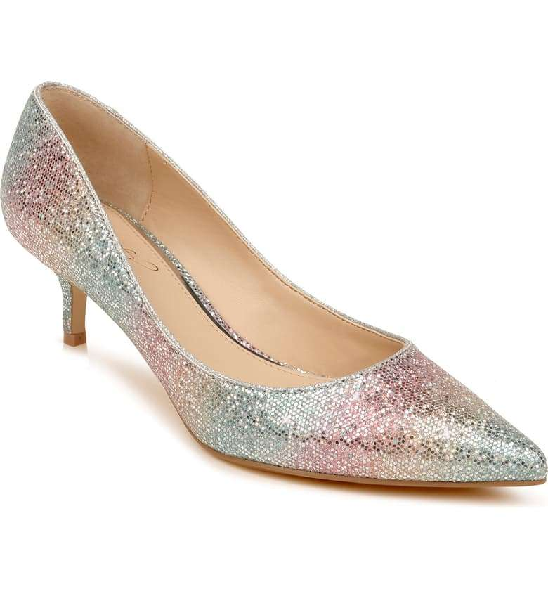 Royalty Pump Jewel Badgley Mischka  Cinderella Kitten Heel Shoe