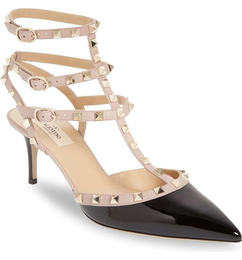 Valentino Rockstud Strappy Pointed Toe Kitten Heel Shoe