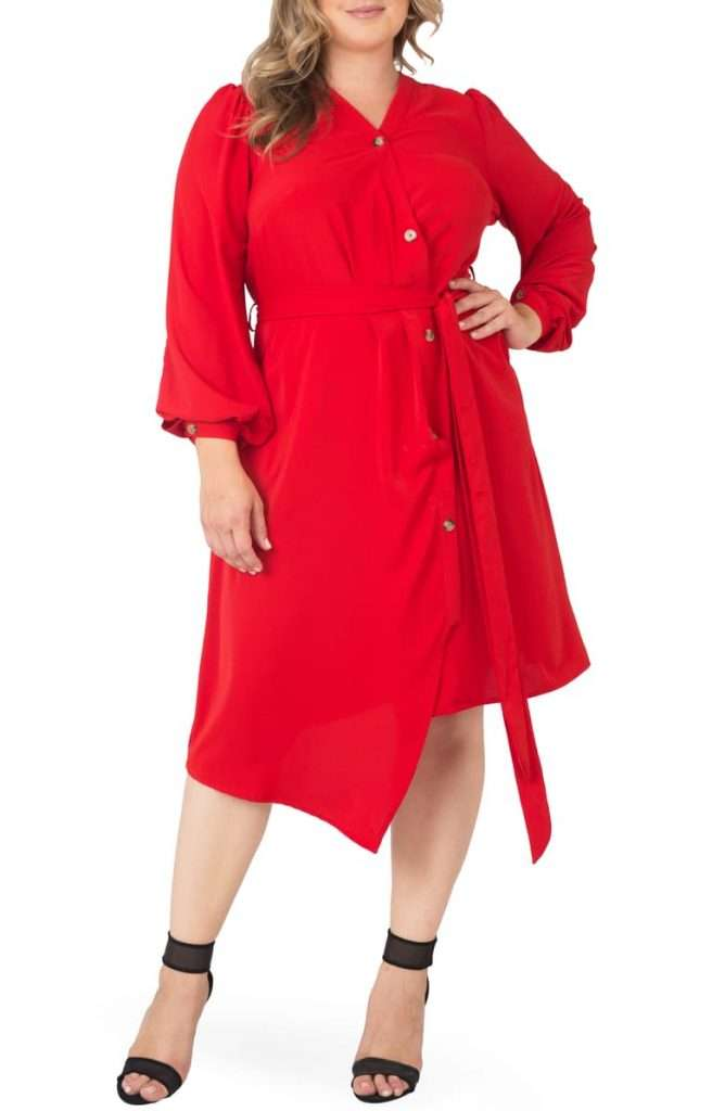 Standards & Practices Asymmetrical Long Sleeve Shirtdress Plus size red dress