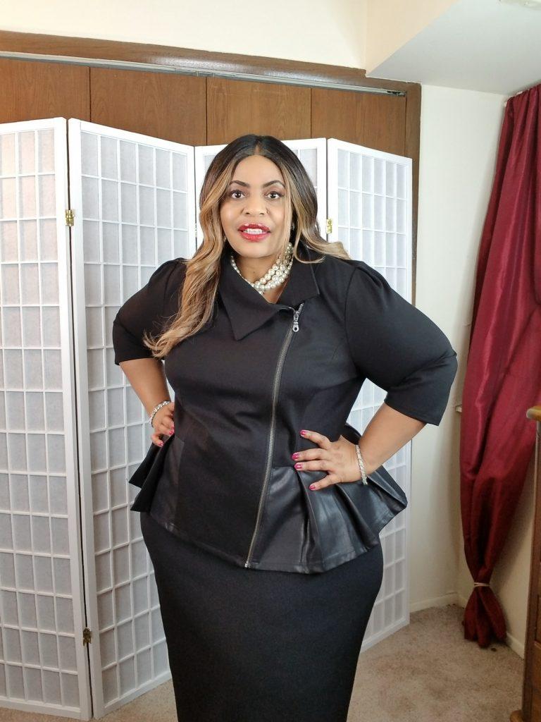Black peplum plus size faux leather jacket