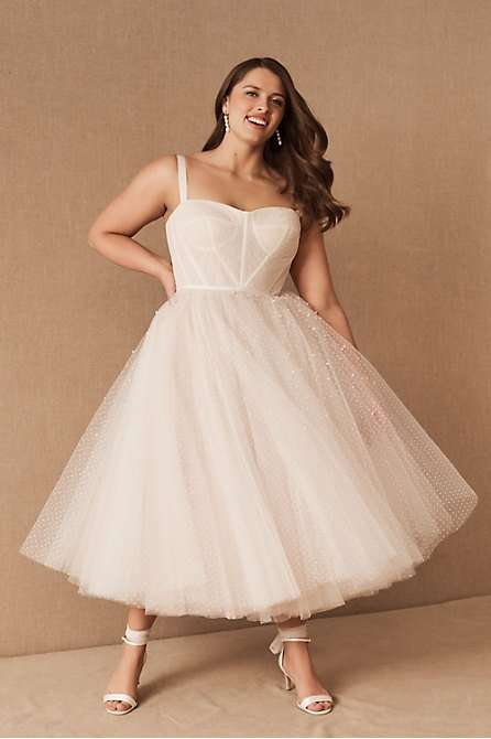 By Watters Lynette Plus Size Tea Length Wedding Dress