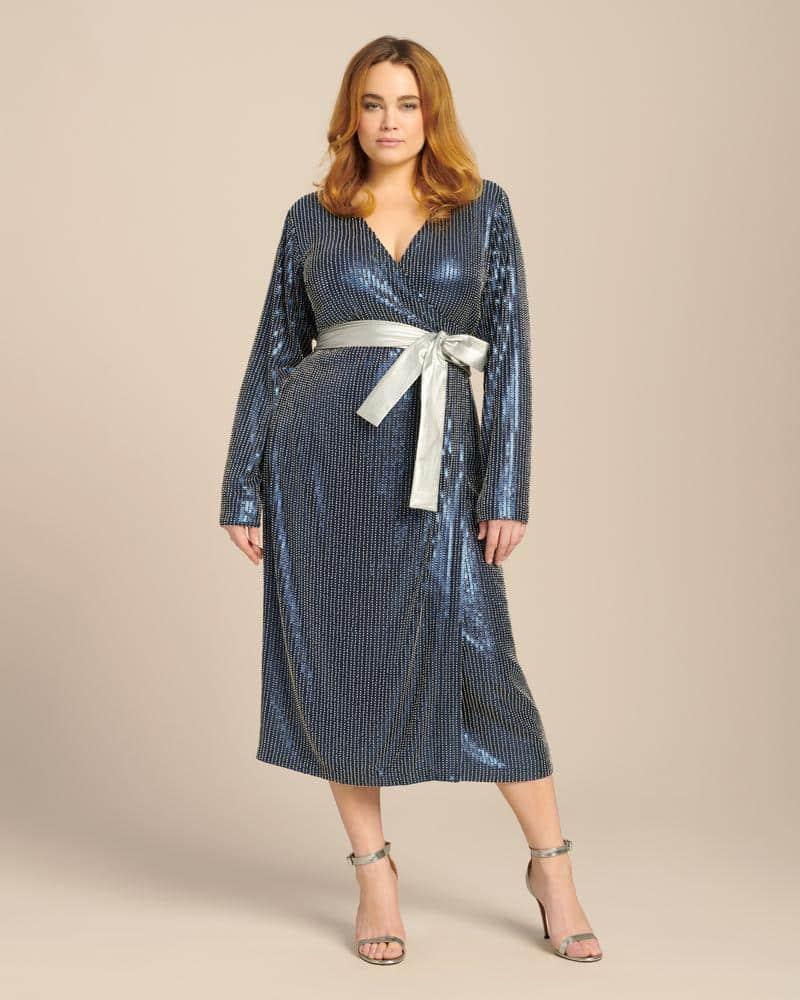 Dima Ayid Studded Wrap Midi Dress