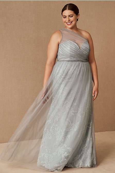 Hayley Paige Phoebe Grey Plus Size Bridesmaid Dress