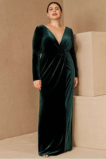 Jenny Yoo Ryland Green Plus Size Velvet Bridesmaid Dress