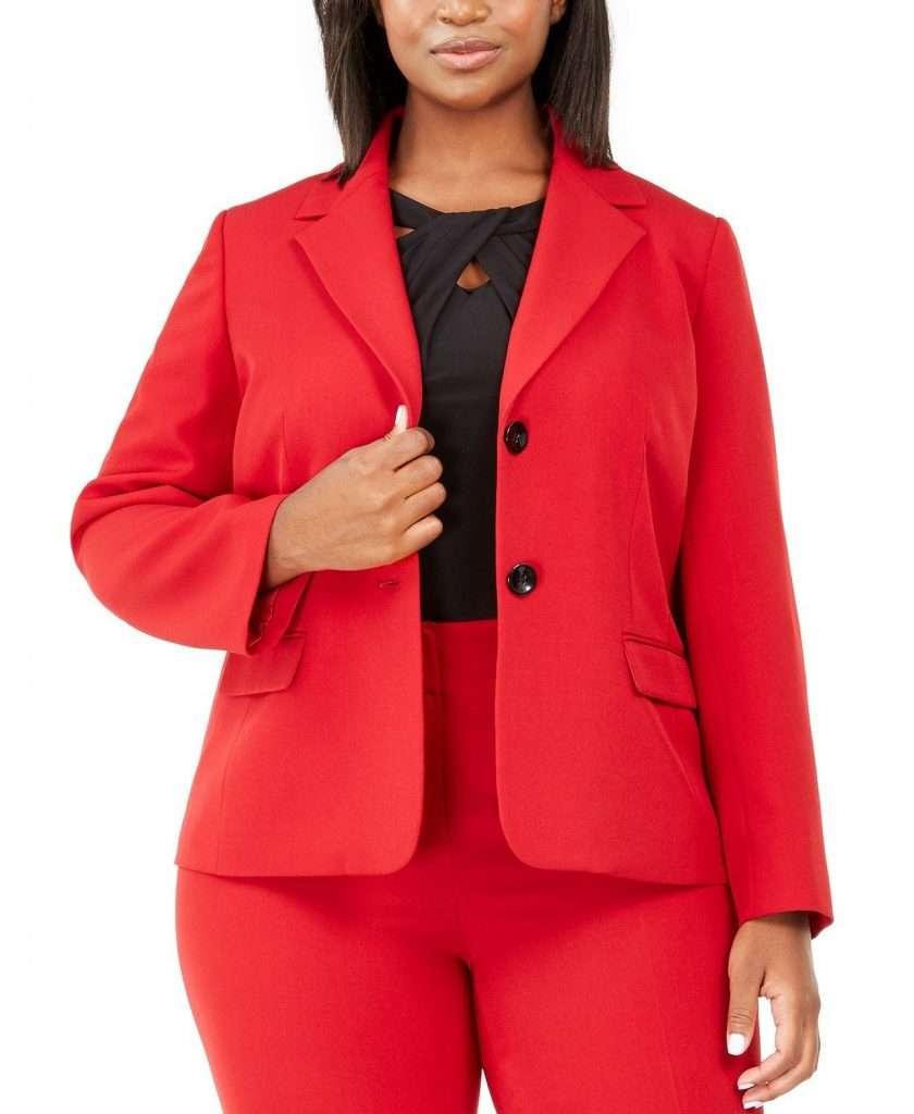 Kasper Red Plus Size Blazer Suit