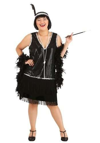 Roaring 20s Flapper Girl Plus Size Halloween Costume