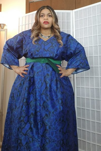 eShakti custom plus size blue snake dress
