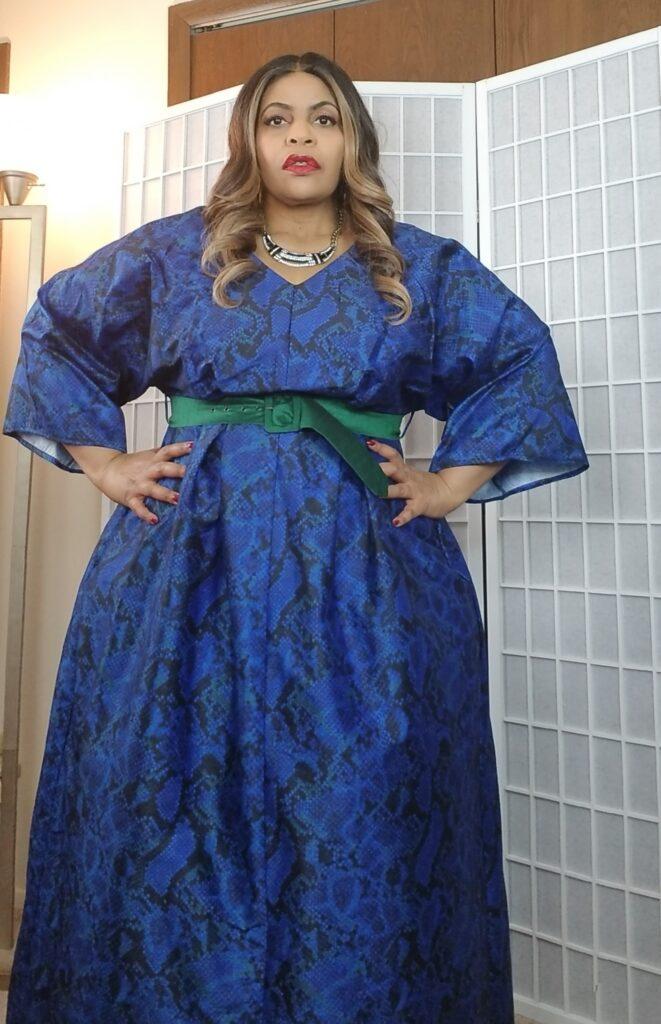 Blue Custom Snake Plus Size Dress