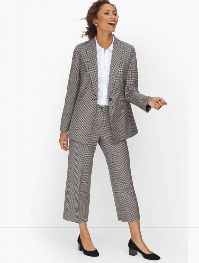Talbots Italian Luxe Houndstooth Single Button Plus Size Pants Suit
