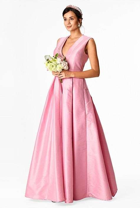 eShakti Custom Plus size pink wedding dress