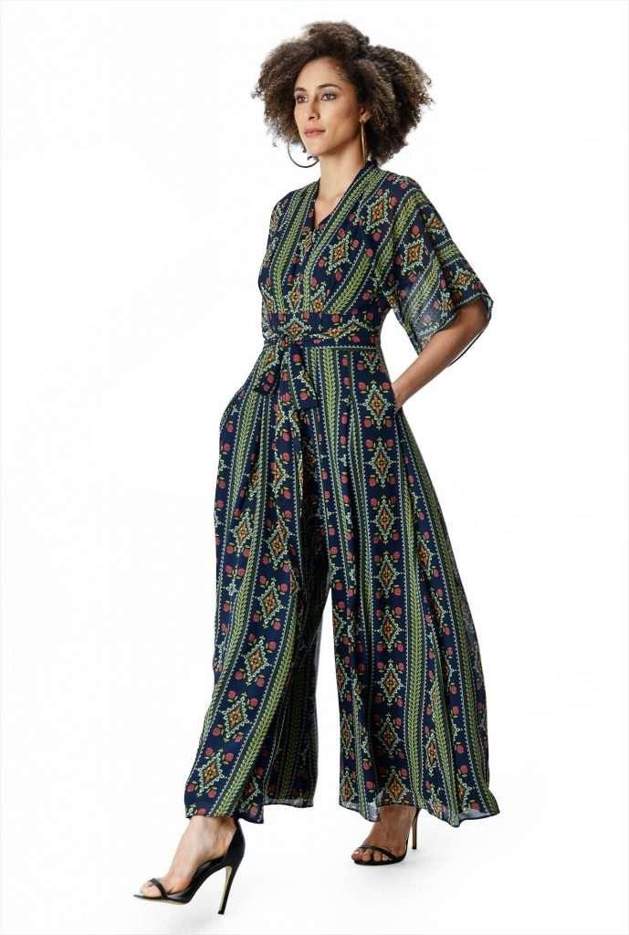 eShakti Custom plus size palazzo jumpsuit
