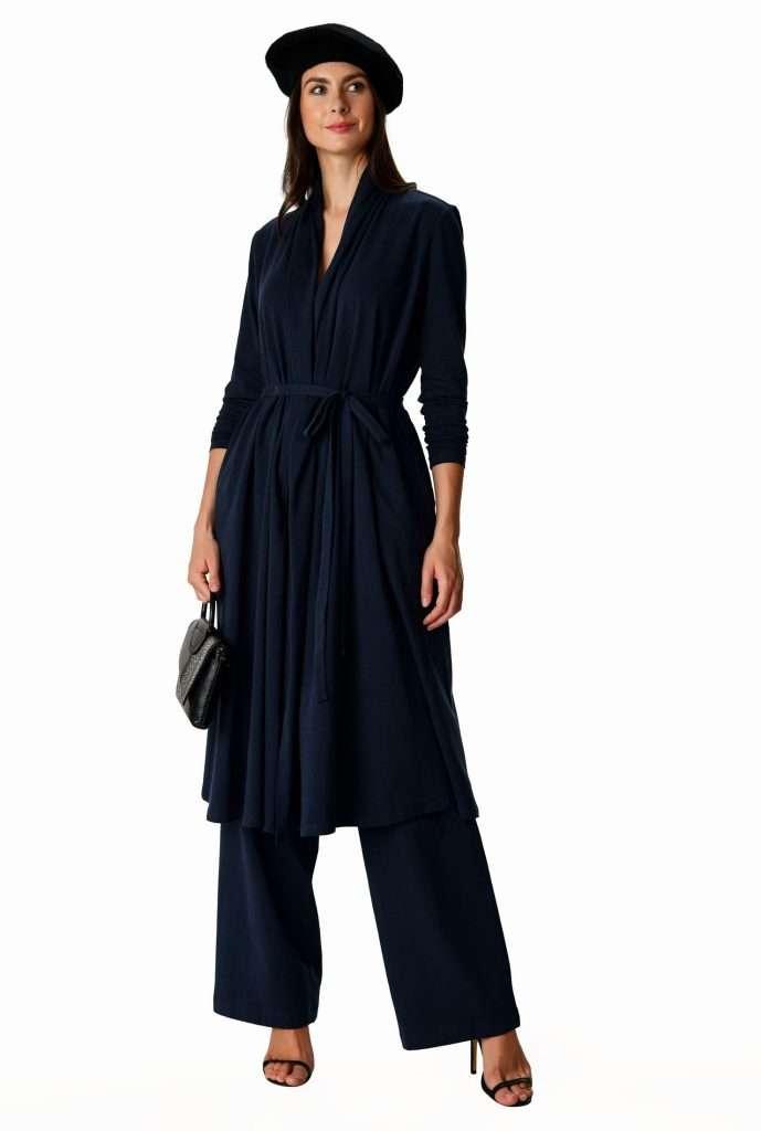 eShakti Custom blue plus size duster wide leg pant set