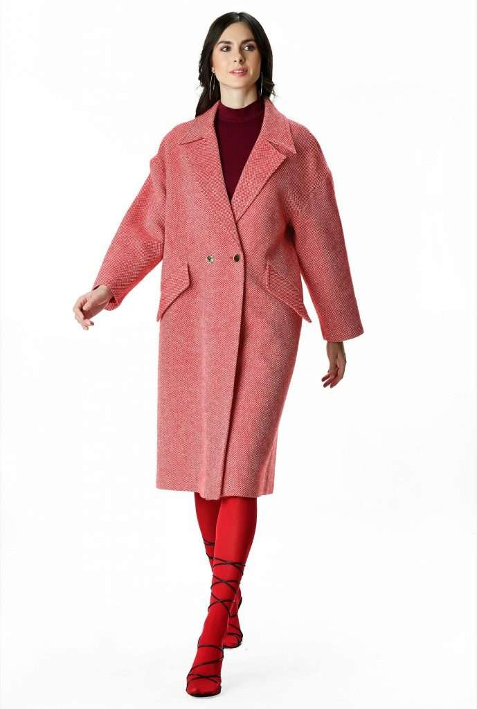 eShakti Custom Plus Size Wool Blend Tweed Coat