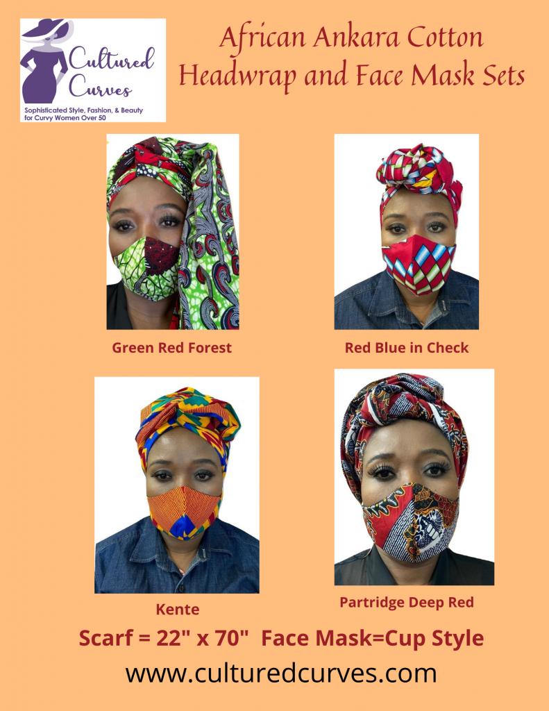 African Ankara Cotton Headwrap and Face Mask Set