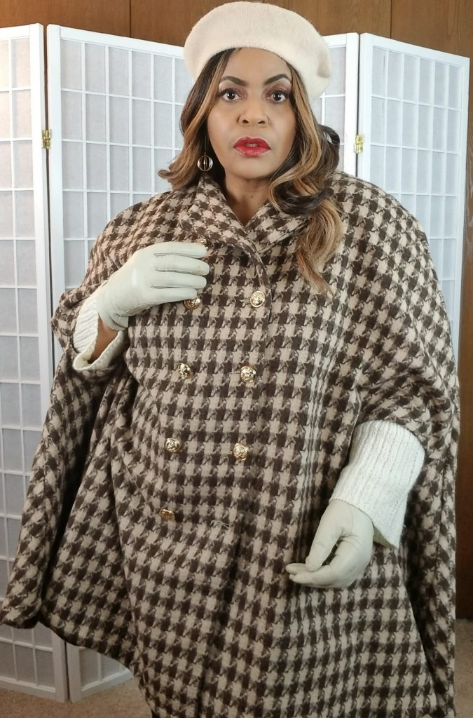 SHEIN Brown Herribone plus size winter coat cape