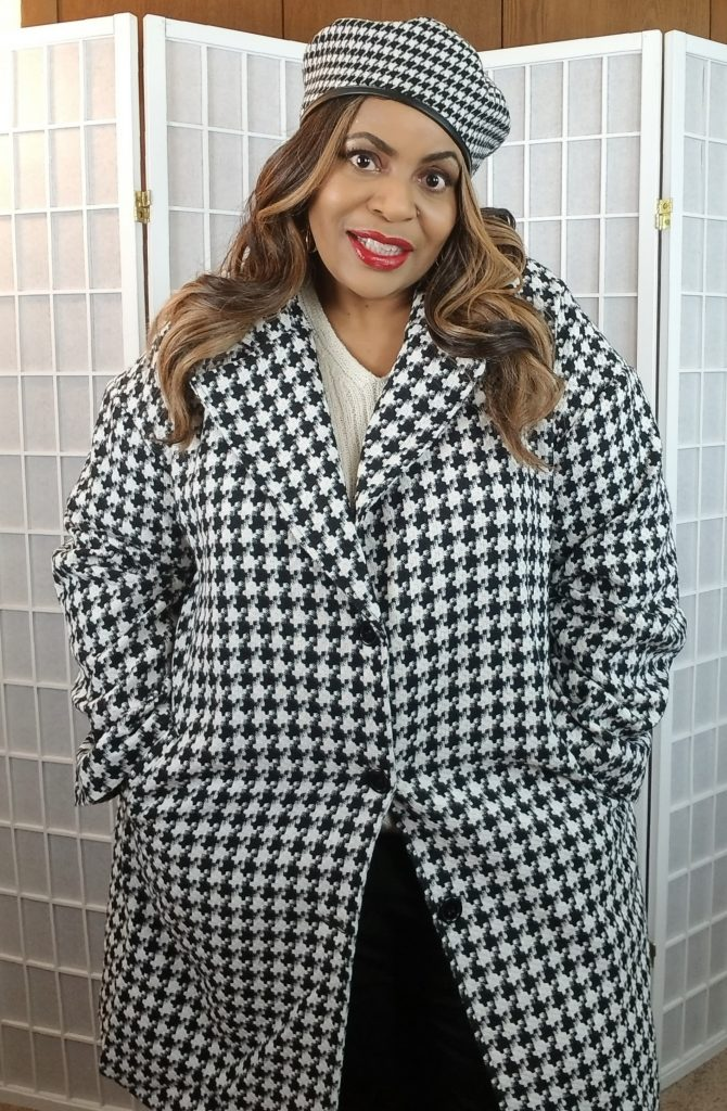 Herribone Plus Size Winter Coat  by SHEIN