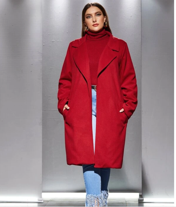 Red Plus Size Winter Coat by SHEIN