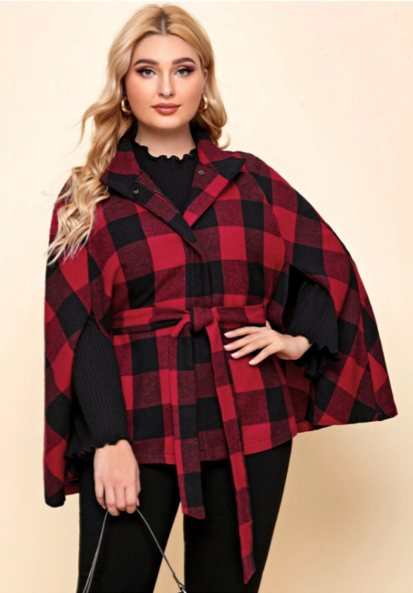 Red Buffalo Cape Plus Size Winter Coat by SHEIN