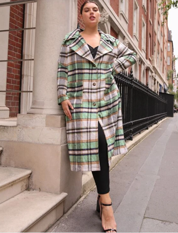 Green Tartan Plaid Long Plus Size Winter Coat by SHEIN