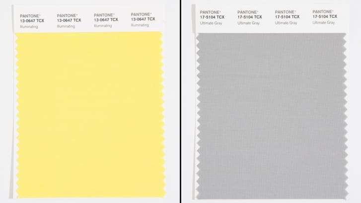 Pantone 17-5104 (Ultimate Gray) and Pantone 13-0647 (Illuminating)