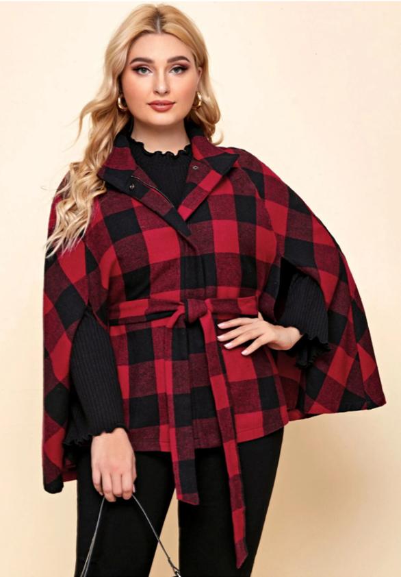 Trendy Tartan Plaid Plus Size Winter Outfits