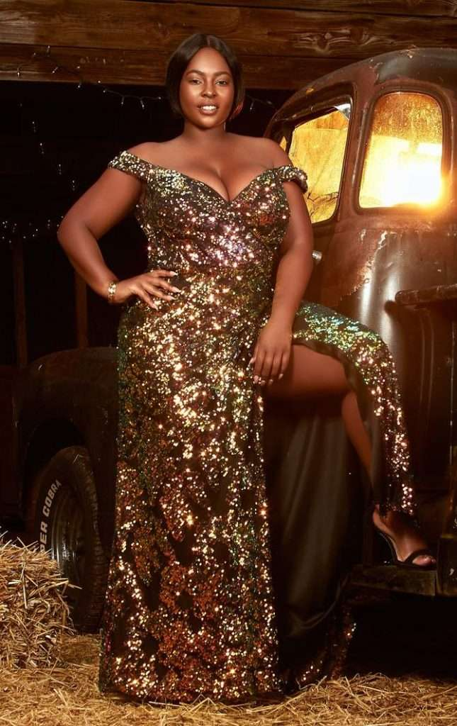 Renee Tyler Plus Size Gold Gown