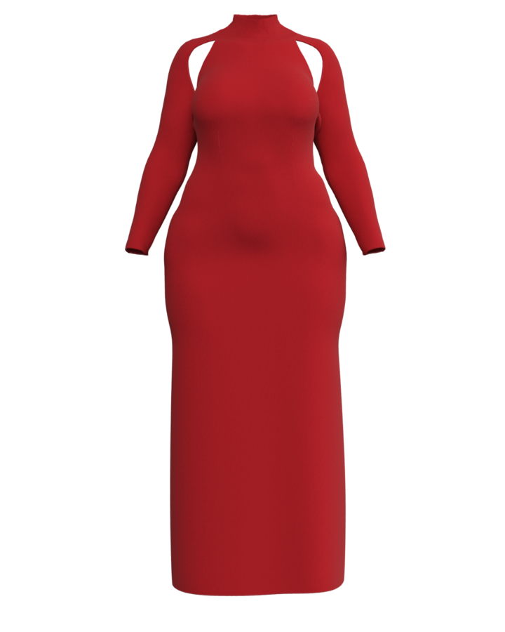 Victor Glemaud plus size luxury red knit maxi dress